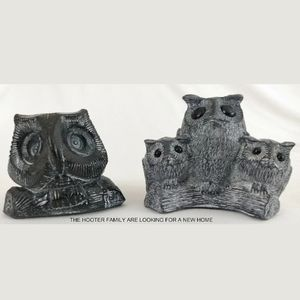 Vintage Hand Carved Owl Family Figures VGC